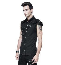 WF Mens Punk Sleeveless Shirt with Single Shoulder Belt