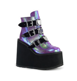 PLS Swing Wedge Platform Iridescent Ankle Boot
