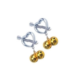 ETC Cupids Pierced Heart Nipple Clamps with Bells