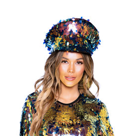 ROM Iridescent Tear Drop Sequin Hat