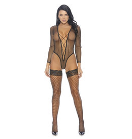 FOR Caught Being Naughty Fishnet Bodysuit with Lace Up Detail