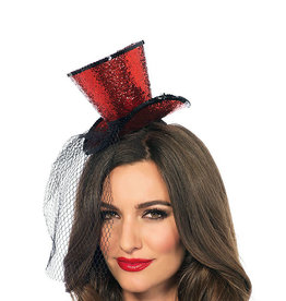 LGA Mini Glitter Top Hat with Veil