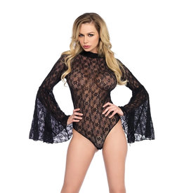 LGA Stretch Lace Bell Sleeve Bodysuit with Snap Crotch