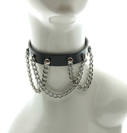 FPL Leather Choker with Chain Drapes O/S