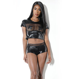 COQ Wetlook Crop Top with Fishnet Panel