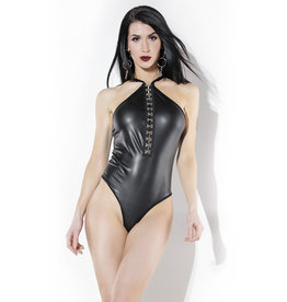 COQ Wetlook Teddy with Chain Cage Back