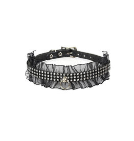 FPL Rhinestone Kitty Collar with Lace Trim O/S