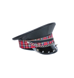 FPL Patent Police Hat with Tartan Trim Chain & Spikes