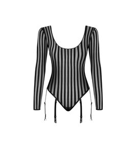 NH Striped Tulle Bodysuit with 6 Suspenders