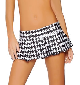 ROM Houndstooth Pleated Mini Skirt