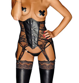 NH Wetlook & Lace High Waisted Suspender Corsage