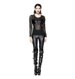 WF Gothic Ladies Long Sleeve Shirt with Fishnet Design