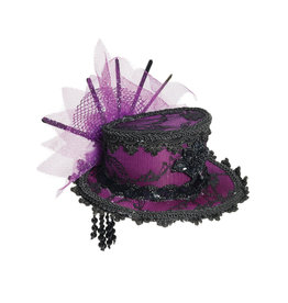 FN Mini Lace Hat with Hair Clips  Purple