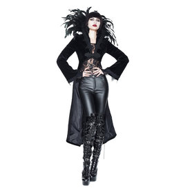WF Gothic Velvet Jacket with Feather Collar
