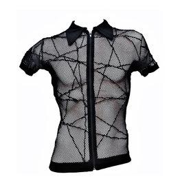 PB Mens Criss Cross Glitter Net Collared Top