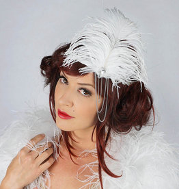 ZFP Lola Rhinestone Flapper Headband with White Feathers