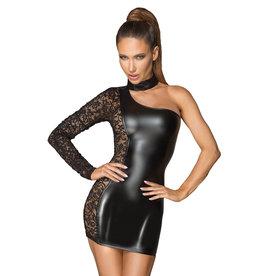 NH Asymmetrical Power Wetlook & Lace Dress