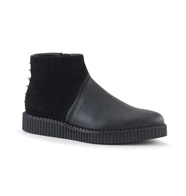PLS Ankle Boot Creeper with Asymmetrical Zipper & Cone Studs