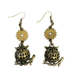 SOL Steampunk Owl Earrings - Antique Bronze