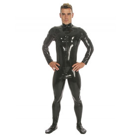 HON Mens Zip Front Latex Catsuit with Feet