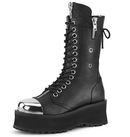 PLS Gravedigger Mens Mid-Calf Platform Boot with Metal Toe Cap