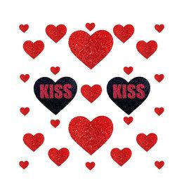 NN Red Glitter Kiss Sticker Top
