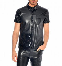PC Liam Patent & Matte PVC Panel Button Down Shirt