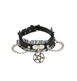 FPL Chain Pentagram Choker with Lace Trim