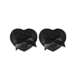 XGN Black Satin Pasties with Gem & Bow