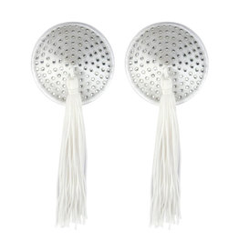 XGN White Satin Pasties with Gem & Tassel