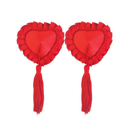 XGN Red Satin Pasties with Tassel