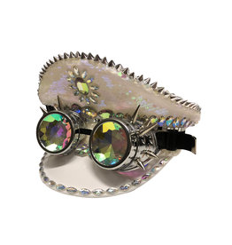 KBW Iridescent  White Sequin Burning Man Hat with Goggles