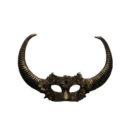 KBW Vintage Style Mask with Horns & Lace Flowers