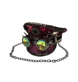 KBW Magenta Sequin Spider Hat with Goggles