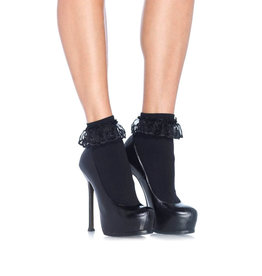 LGA Anklet With Lace Ruffle  Black O/S