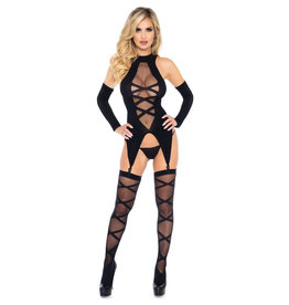 LGA Cami Garter & Stockings Set  Black O/S