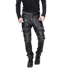 WF Punk Pleather Pants with Buckles & Zipper Detail