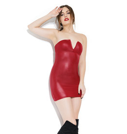 COQ Wetlook Tube Dress with Wire V Front Detail