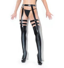 COQ Wetlook Stockings with Attached Garter
