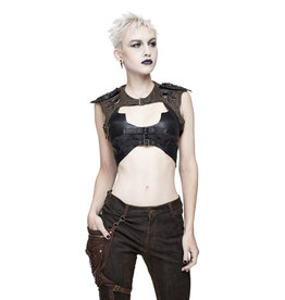 WF Faux Leather Gothic Bra Top