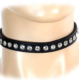 FPL Leather Choker With Rhinestones