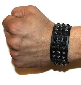 FPL 3 Row Black Pyramid Studded Bracelet