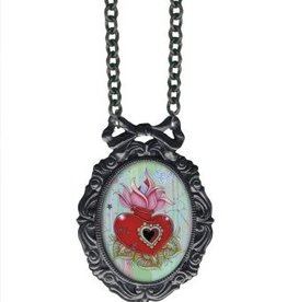 CH Stitches Heart Large Frame Necklace
