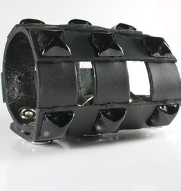 FPL Leather Cuff with Pyramid Studs