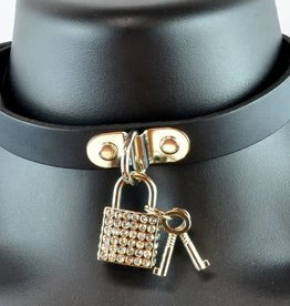 FPL Rhinestone Square Lock Leather Collar