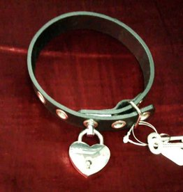 KO Leather Collar With Grommets And Heart Lock
