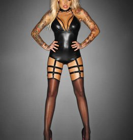 NH Outrageous Wetlook Bodysuit With Attached Garters