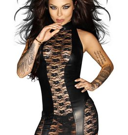 NH Nasty Wetlook & Lace Garter Dress