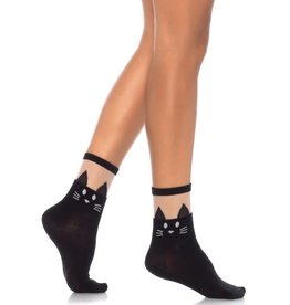 LGA Black Cat Sheer Top Opaque Anklet
