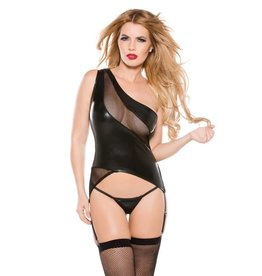 AL Kitten Mesh & Wetlook One Shoulder Bustier